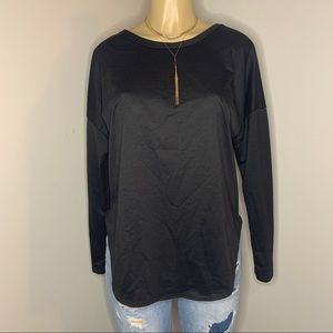 Casual Black Crossed Back Blouse